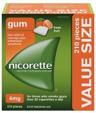 Nicorette 4mg Gum Quit Smoking Aid 210 Pieces Fresh Fruit EXP 08/2022