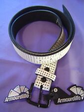 "White Perforated Leather Belt Armourdillo Riddle Action XL 36-40"" RETAILS $35"