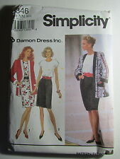 New Vtg Simplicity Pattern 8346 Size NN 10-16 Damon Dress Inc. Dress & Jacket