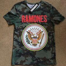Official RAMONES Green Camouflage Mens Oversize Tour T-Shirt Primark Sz S BNWT