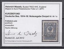 Deutsche Besetzung 1914/1918 Dorpat 1 a postfrisch geprüft Fotobefund