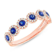 0.96 TCW 14K Rose Gold Blue Sapphire and Diamond 7 Stone Anniversary Band Ring