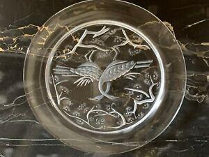 """Lalique 1965 Annual Deux Oiseaux Two Birds Crystal 8-3/8"""" Plate"""