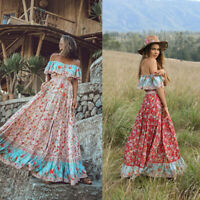 Boho Womens Floral Rural Style Maxi Dress Summer Casual Off Shoulder Swing Dress