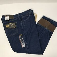 NWT Big Mens LEE Relaxed Fit FLEECE LINED Straight Leg Jeans Dark Wash Sz 46x32.