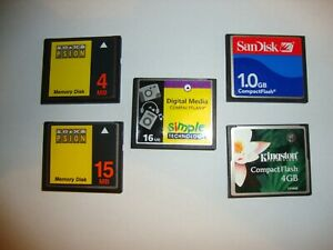 5 x Compact Flash (CF) Cards formatted for Psion Series 5 & 7 PDAs inc 4GB