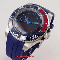 40mm BLIGER black dial blue marks rubber Ceramic Bezel automatic mens watch 170