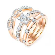 Neues Angebot3pc 925 Sterling Versilbert Diamant Paar Ringe Kristall Verlobung Geschenkset