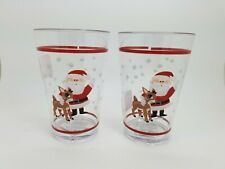 Pottery Barn Kids Rudolph Santa Holiday Christmas Glasses Tumblers S/ 2 #2907