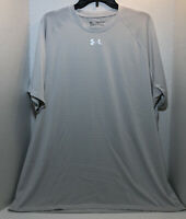 Under Armour Heat Gear Shirt Loose Fit Short Sleeve Men's Size 2XL White/gray