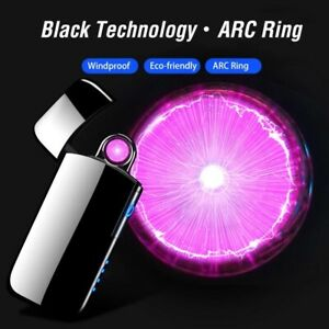 New Double Plasma Arc Lighter Windproof Electronic USB Recharge Cigarette Touch