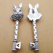 4pcs Charms Key Shape Rabbit Head Tibetan Silver Beads Pendant DIY 16*51mm
