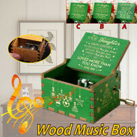 Christmas Wooden Music Box Craft Hand Crank Engraved Gift Xmas Kid Toys