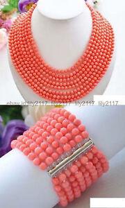 17-24 Inch Real Narutal 8 Rows 6MM Pink Coral Round Gems Necklace Bracelet Set