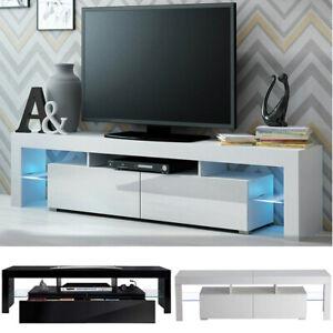 Modern TV Unit Cabinet Stand Matt Body and High Gloss Doors 2 Drawers LED Lights