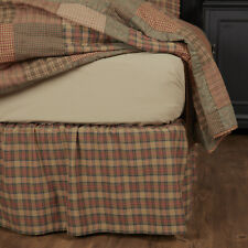King Queen  00004000 Twin Cotton Plaid Bed Skirt Dust Ruffle Vhc Primitive