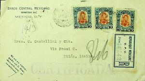 MEXICO 1913 PRE WWI 10cx3 ON REGD COVER TO MILAN ITALY