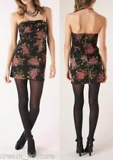 NEW Free People Strapless Mini Dress Black Floral Sateen Size 12 MSRP $108