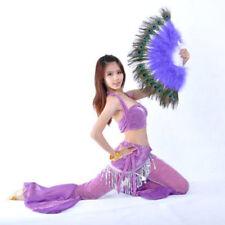 Women Dance Peacock Fan Belly Folding Feather Hand Fan Costume Wedding Party Acc