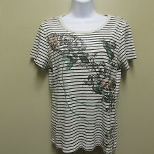 BandolinoBlu LARGE Shirt Top Blouse Tee Gray Striped Floral
