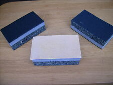 3 dual sided velcro sanding blocks for hand sanding sheets 125 x 70, hook & loop