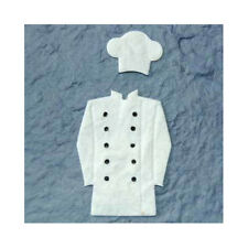3 x Chefs white jacket & hat mulberry paper  - CARD MAKING TOPPER EMBELLISHMENTS
