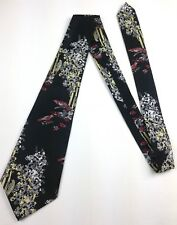 True Vintage Necktie 70's Men's Wide Neck Tie Retro Scenery Birds Black Tree