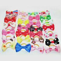 20Pcs/lot Pet Hair Bow Ribbon Dog Cat Headdress Rubber Band Grooming Accessories