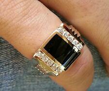 0.35 ct 14k Solid Yellow Gold Mens Natural Diamond & Onyx Ring 2 row 9.0 Grams