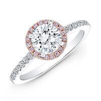 2.39 CT Round Cut Bridal Bridal Engagement halo Ring Band 14k White/Rose Gold