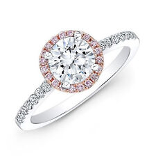 2.39 CT Round Cut Bridal Bridal Engagement halo Ring Band 14k White/Rose Gold
