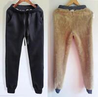 Men Fashion Jogging Pants Warm Fur Lined Sweatpants Drawstrings Trousers Casual