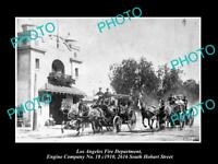 OLD HISTORIC PHOTO OF LOS ANGELES FIRE DEPARTMENT, THE No18 ENGINE STATION c1910