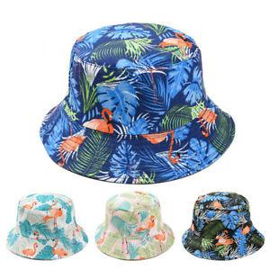 Women Men Festival Reversible Hawaiian Flamingo Bucket Hat Fishing Sun Beach Cap