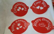 "4 Red 8"" Cake Top Happy Birthday~ Love you~Congratulations~ Anniversary Stencil"