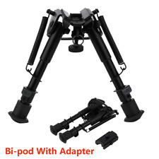 "6"" - 9"" Adjustable Spring Swivel Bipod + Adapter Rail for Hunting Air Rifle Gun"