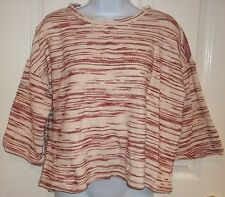 Womens LOU & GREY~BURGUNDY KNIT TOP~size SMALL~NEW~Blouse Brick Red Oversized