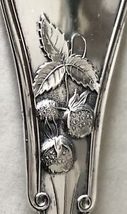 Antique c1870 Victorian American Coin Silver STERLING Strawberry Serving Spoon