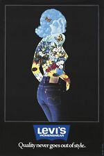 LEVI'S WOMENSWEAR JEANS 1975 vintage advertising poster 23.5x33.5 NM
