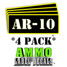 "AR-10 Ammo Label Decals Ammunition Case 3"" x 1"" Can stickers 4 PACK -YWbkRD"