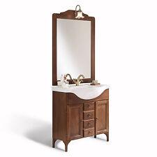 Mobile bagno classico da 85cm in legno arte povera con piedini specchio applique