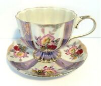 Vintage Royal Halsey Very Fine China Tea Cup Saucer Purple White Stripe Pedestal