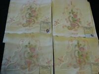 Lot of 4 Madeira Pink Pastel Embroidered Guest Towels Linen/Organdy Gorgeous!!!