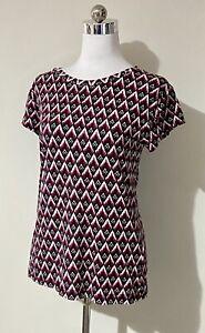 H&M Size S Small 8 10 Top Black Burgundy White Geometric Retro 90s Cap Sleeve