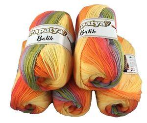 Rainbow wool pack 5 x 100g Papatya Batik Yarn wool crochet DK acrylic Shade 15