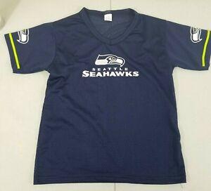 Seattle Seahawks Boys M Franklin Mesh V Neck T Shirt