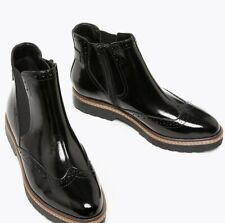 Marks And Spencer Ladies Leather Patent Brogue Chelsea Boots Black Patent 7.5