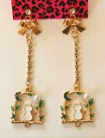 Betsey Johnson Crystal Rhinestone Enamel Cat Post Earrings