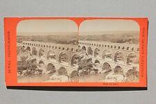 Le Pont du Gard France Stereo Papier Vintage albumine ca 1875