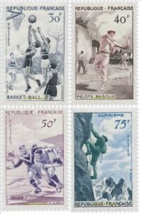 EBS France 1956 Sport Basketball Pelote Rugby Mountaineering 1072-1075 MNH** $42